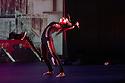 London, UK. 18.10.2013. Boy Blue Entertainment perform THE FIVE AND THE PROPHECY OF PRANA at the Barbican theatre. Dancers are: Michele 'Paleta' Rhyner, Bradley 'Bradz' Charles, Theo 'Godson' Oloyade, Kofi 'Klik' Mingo, Xena Gusthart, Vicky 'Skytilz' Mantey, Duwane Taylor, Kayla Lomas-Kirton, shaun Smith, Hakim Saber and Jumar Aben. Picture shows: Michele 'Paleta' Rhyner. Photograph © Jane Hobson.