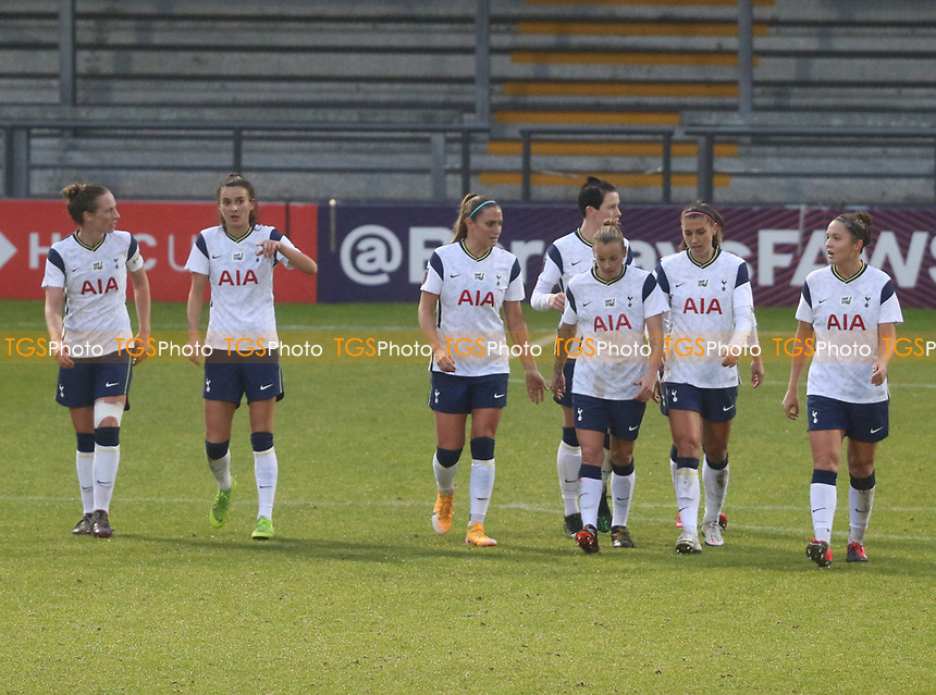 Tottenham Hotspur players celebrate their second goal as they head back to the center circle during Tottenham Hotspur Women vs Aston Villa Women, Barclays FA Women's Super League Football at the Hive Stadium on 13th December 2020