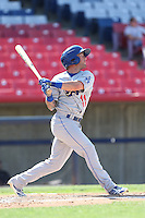 Rob Garvey #11 of the Rancho Cucamonga Quakes bats against the High Desert Mavericks at Stater Bros. Stadium on May 27, 2014 in Adelanto, California. High Desert defeated Rancho Cucamonga, 5-4. (Larry Goren/Four Seam Images)