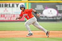 Cristian Moronta (2) of the Greeneville Astros takes off for second base against the Burlington Royals at Burlington Athletic Park on July 1, 2013 in Burlington, North Carolina.  The Astros defeated the Royals 8-1 in Game Two of a doubleheader.  (Brian Westerholt/Four Seam Images)