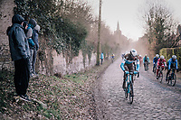 Stijn Vandenbergh (BEL/AG2R-La Mondiale) taking the road less ridden...<br /> <br /> 50th GP Samyn 2018<br /> Quaregnon > Dour: 200km (BELGIUM)
