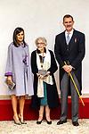 King Felipe VI of Spain, Queen Letizia and Uruguayan poet Ida Vitale (C) during the Cervantes Literature Prize ceremony at the University of Alcala in Madrid on April 23, 2019. (ALTERPHOTOS/Alconada).
