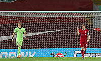 1st October 2020; Anfield, Liverpool, Merseyside, England; English Football League Cup, Carabao Cup, Liverpool versus Arsenal; James Milner of Liverpool celebrates after beating Arsenal goalkeeper Bernd Leno in the penalty shootout