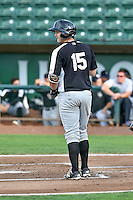 Hunter Melton (15) of the Grand Junction Rockies at bat against the Ogden Raptors in Pioneer League action at Lindquist Field on August 26, 2016 in Ogden, Utah. The Raptors defeated the Rockies 6-5. (Stephen Smith/Four Seam Images)