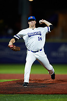 High Point Rockers relief pitcher Brian Clark (14) in action against the Lexington Legends at Truist Point on June 16, 2021, in High Point, North Carolina. The Legends defeated the Rockers 2-1. (Brian Westerholt/Four Seam Images)