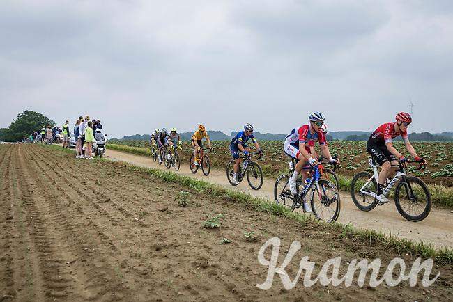 breakaway group with Connor Swift (GBR/Arkea Samsic), Dries Van Gestel (BEL/Total Direct Energie), Yves Lampaert (BEL/Deceuninck-Quick Step)<br /> <br /> 17th Dwars Door Het Hageland 2021<br /> One Day Race: Aarschot – Diest 18Okm (UCI 1.Pro)<br /> Bingoal Cycling Cup 2021<br /> <br /> ©kramon