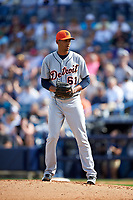Detroit Tigers pitcher Eduardo Briceno (61) gets ready to deliver a pitch during a Spring Training game against the New York Yankees on March 2, 2016 at George M. Steinbrenner Field in Tampa, Florida.  New York defeated Detroit 10-9.  (Mike Janes/Four Seam Images)