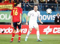 Spain's national team Sergio Busquets against France's national team Franck Ribéry during match. October 16, 2012. (ALTERPHOTOS/Alvaro Hernandez) /NORTEPhoto