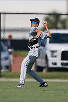 GCL Tigers West center fielder Parker Meadows (14) throws back to the infield during a game against the GCL Tigers East on August 8, 2018 at Tigertown in Lakeland, Florida.  GCL Tigers East defeated GCL Tigers West 3-1.  (Mike Janes/Four Seam Images)