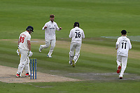 Sussex bowler, Will Beer, celebrates taking the wicket of Glamorgan batsman, Dan Douthwaite during Sussex CCC vs Glamorgan CCC, LV Insurance County Championship Group 3 Cricket at The 1st Central County Ground on 5th July 2021