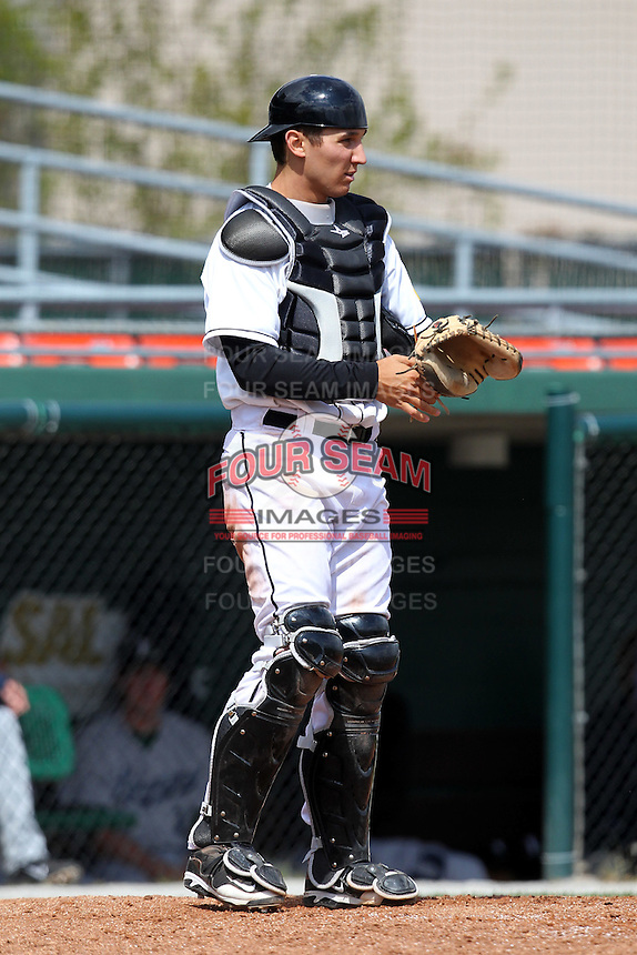 Hagerstown Suns catcher Cole Leonida #33 during a game against the Lexington Legends at Municipal Park on April 11, 2012 in Hagerstown, Maryland.  Lexington defeated Hagerstown 3-0.  (Mike Janes/Four Seam Images)