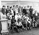 The Beatles 1967 Filming Magical Mystery Tour cast group photo before leaving Cornwall.<br /> © Chris Walter