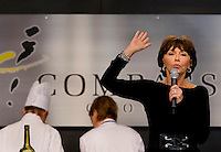 Local personality Barbara McKay talks to crowds during a break in at the 2008 Charlotte Shout culinary festival in downtown Charlotte, NC. Shout is a month-long celebration of art, culture, entertainment and culinary excellence.