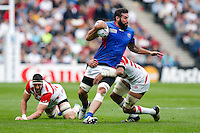 Samoa Lock Kane Thompson is tackled - Mandatory byline: Rogan Thomson - 03/10/2015 - RUGBY UNION - Stadium:mk - Milton Keynes, England - Samoa v Japan - Rugby World Cup 2015 Pool B.