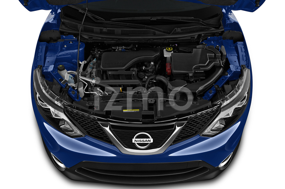 Car stock 2019 Nissan Rogue Sport SL 5 Door SUV engine high angle detail view