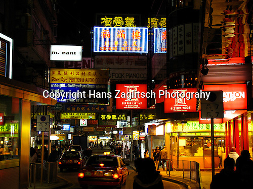 The populair shoppingstreet Nathan Road in Kowloon at night