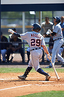 Detroit Tigers Will Maddox (29) hits a home run during a minor league Spring Training game against the New York Yankees on March 22, 2017 at the Yankees Complex in Tampa, Florida.  (Mike Janes/Four Seam Images)