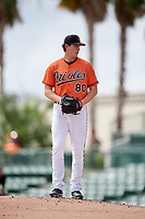 Baltimore Orioles pitcher Michael Baumann (80) gets ready to deliver a pitch during an Instructional League game against the Tampa Bay Rays on October 2, 2017 at Ed Smith Stadium in Sarasota, Florida.  (Mike Janes/Four Seam Images)
