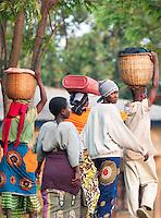 Local people walking near Parc National des Volcans, Rwanda