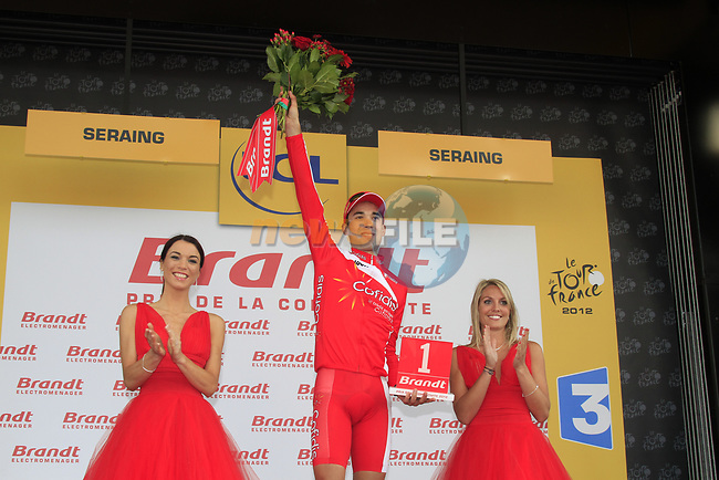 Nicolas Edet (FRA) Cofidis takes the days combativity prize at the end of Stage 1 of the 99th edition of the Tour de France, running 198km from Liege to Seraing, Belgium. 1st July 2012.<br /> (Photo by Eoin Clarke/NEWSFILE)