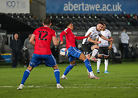 20th April 2021; Liberty Stadium, Swansea, Glamorgan, Wales; English Football League Championship Football, Swansea City versus Queens Park Rangers; Matt Grimes of Swansea City shoots at goal but its blocked