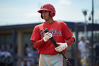 GCL Phillies East Jose Mercado (5) bats during a Gulf Coast League game against the GCL Yankees East on July 31, 2019 at Yankees Minor League Complex in Tampa, Florida.  GCL Yankees East defeated the GCL Phillies East 11-0 in the first game of a doubleheader.  (Mike Janes/Four Seam Images)