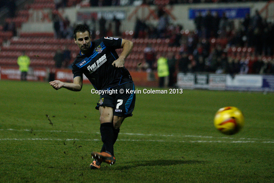 Filipe Morais of Stevenage's penalty is saved<br />  - Swindon Town v Stevenage - Johnstone's Paint Trophy - Southern Section Semi-final  - County Ground, Swindon - 10th December, 2013<br />  © Kevin Coleman 2013
