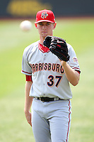 April 11, 2010:  First overall draft pick of the 2009 MLB Draft Stephen Strasburg (37) warms up before making his professional debut with the Harrisburg Senators, Double-A affiliate of the Washington Nationals, in a game vs. the Altoona Curve, affiliate of the Pittsburgh Pirates, at Blair County Ballpark in Altoona, PA.  Photo By Mike Janes/Four Seam Images