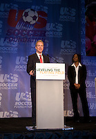Chris Van Hollen, Briana Scurry. The 2010 US Soccer Foundation Gala was held at City Center in Washington, DC.