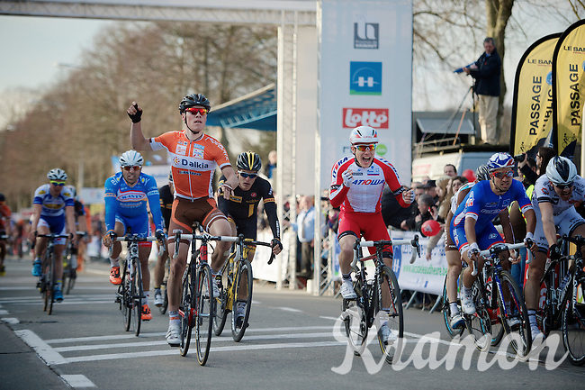 2 riders think they won, but eventually Maxime Vantomme (BEL) will be declared victorious over Aleksei Tsatevitsj (RUS)<br /> <br /> GP Le Samyn 2014