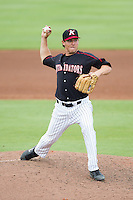 Kannapolis Intimidators relief pitcher Brad Salgado (1) in action against the Lakewood BlueClaws at CMC-NorthEast Stadium on July 20, 2014 in Kannapolis, North Carolina.  The Intimidators defeated the BlueClaws 7-6. (Brian Westerholt/Four Seam Images)