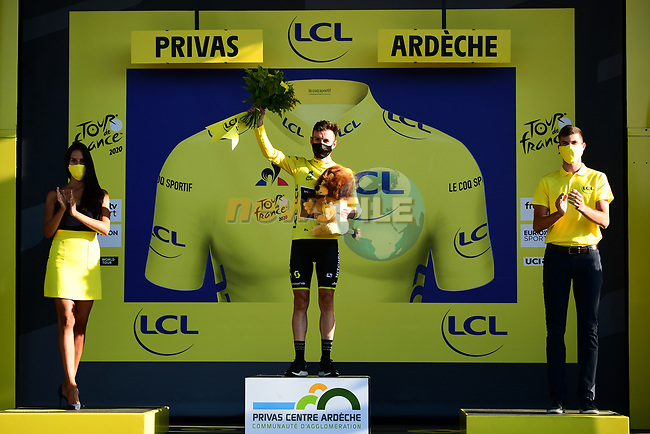 Adam Yates (GBR) Mitchelton-Scott surprised to be in Yellow after Julian Alaphilippe (FRA) incurred a 20 second time penalty at the end of Stage 5 of Tour de France 2020, running 183km from Gap to Privas, France. 2nd September 2020.<br /> Picture: ASO/Alex Broadway | Cyclefile<br /> All photos usage must carry mandatory copyright credit (© Cyclefile | ASO/Alex Broadway)