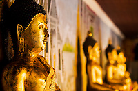 Wat Phra That temple, ancient gold Buddha with a golden robe and blurred Buddhas in the background in Doi Suthep mountains near Chiang Mai Thailand