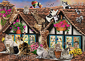Interlitho-Franco, REALISTIC ANIMALS, REALISTISCHE TIERE, ANIMALES REALISTICOS, paintings+++++,katzen,KL4634,#a#, EVERYDAY ,puzzle,puzzles