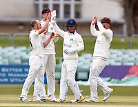 Josh Bohannon (L) of Lancashire is congratulated after taking the wicket of Daniel Bell-Drummond during Kent CCC vs Lancashire CCC, LV Insurance County Championship Group 3 Cricket at The Spitfire Ground on 25th April 2021