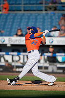 Syracuse Mets Aaron Altherr (43) at bat during an International League game against the Charlotte Knights on June 11, 2019 at NBT Bank Stadium in Syracuse, New York.  Syracuse defeated Charlotte 15-8.  (Mike Janes/Four Seam Images)