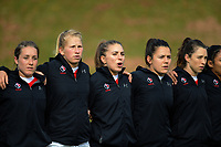 The Canada team lines up before the 2017 International Women's Rugby Series rugby match between Canada and Australia Wallaroos at Smallbone Park in Rotorua, New Zealand on Saturday, 17 June 2017. Photo: Dave Lintott / lintottphoto.co.nz