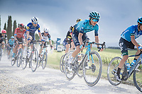 """Vadim Pronskiy (KAZ/Astana - Premier Tech) over the final gravel sector of the day.<br /> <br /> 104th Giro d'Italia 2021 (2.UWT)<br /> Stage 11 from Perugia to Montalcino (162km)<br /> """"the Strade Bianche stage""""<br /> <br /> ©kramon"""