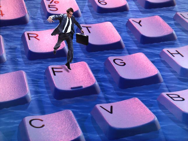 Man running on floating keyboard