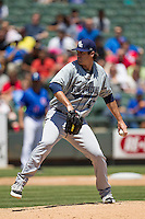 New Orleans Zephyrs pitcher Brian Flynn #43 delivers a pitch to the plate during the Pacific Coast League baseball game against the Round Rock Express on May 5, 2014 at the Dell Diamond in Round Rock, Texas. The Zephyrs defeated the Express 13-4. (Andrew Woolley/Four Seam Images)