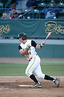 Luke Rasmussen (44) of the Cal State Long Beach Dirtbags bats against the UC Santa Barbara Gauchos at Blair Field on April 1, 2016 in Long Beach, California. UC Santa Barbara defeated Cal State Long Beach, 4-3. (Larry Goren/Four Seam Images)