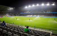 LOS ANGELES, CA - SEPTEMBER 13: An empty Bank of California stadium during a game between Portland Timbers and Los Angeles FC at Banc of California stadium on September 13, 2020 in Los Angeles, California.