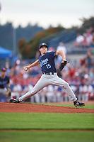 Hillsboro Hops starting pitcher Drey Jameson (15) during a Northwest League game against the Spokane Indians at Avista Stadium on August 23, 2019 in Spokane, Washington. Hillsboro defeated Spokane 8-2. (Zachary Lucy/Four Seam Images)