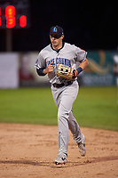 Lake County Captains right fielder Ruben Cardenas (4) jogs off the field between innings of a Midwest League game against the Beloit Snappers at Pohlman Field on May 6, 2019 in Beloit, Wisconsin. Lake County defeated Beloit 9-1. (Zachary Lucy/Four Seam Images)