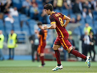 Calcio, Serie A: Lazio vs Roma. Roma, stadio Olimpico, 3 aprile 2016.<br /> Roma's Diego Perotti celebrates after scoring during the Italian Serie A football match between Lazio and Roma at Rome's Olympic stadium, 3 April 2016.<br /> UPDATE IMAGES PRESS/Riccardo De Luca