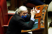 The deputy Vittorio Sgarbi during the information at the Chamber of Deputies before sending to the European Commission the economy plan of recovery and resilience.<br /> Rome (Italy), April 26th 2021<br /> Photo Samantha Zucchi Insidefoto