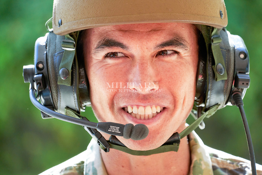 PORTRAIT, Male soldier, model-released, DoD-compliant for advertising, CAUCASIAN, WHITE  <br /> <br /> Model-released stock photograph, DoD-compliant for advertising and promotion.  Reproduction requires paid license.