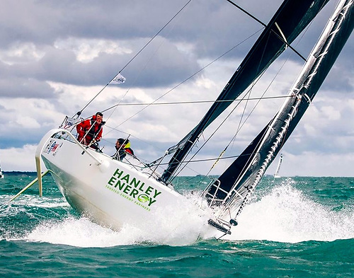 The Figaro 3 RL Sailing (Kenneth Rumball & Pam Lee) in a fresh breeze. In gentler conditions early this morning, the Irish duo had the best of a three-way two-handed Fastnet finish line contest with Shirley Robertson in Swell and Alexis Loison in Leon