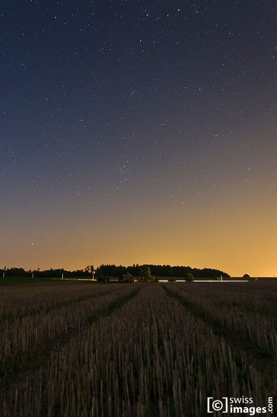 Night view on a rural landscape