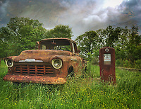 Old Chevy truck and rusty gas pump in Louisiana